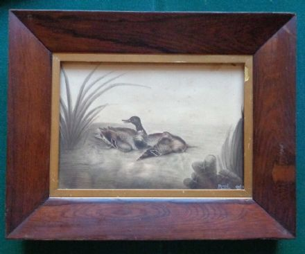 Antique Signed Painting Ducks Harriet Gladwin Daughter General Gladwin Pontiac
